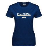 Ladies Navy T Shirt-Volleyball w/ Ball