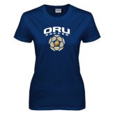 Ladies Navy T Shirt-ORU Soccer Geometric Ball