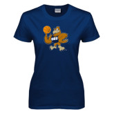 Ladies Navy T Shirt-Basketball Eli