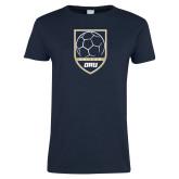 Ladies Navy T Shirt-Soccer Shield Design