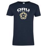 Ladies Navy T Shirt-Soccer Design