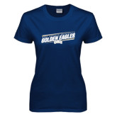Ladies Navy T Shirt-Golden Eagles Slanted w/ Logo