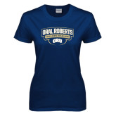 Ladies Navy T Shirt-Oral Roberts Golden Eagles Arched Shield