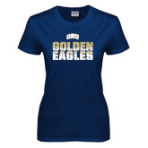 Ladies Navy T Shirt-Golden Eagles Stacked