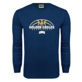 Navy Long Sleeve T Shirt-Golden Eagles Basketball Half Ball