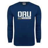 Navy Long Sleeve T Shirt-ORU Basketball Stencil