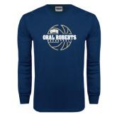 Navy Long Sleeve T Shirt-Oral Roberts Basketball Lined Ball