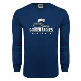 Navy Long Sleeve T Shirt-Golden Eagles Baseball Seams