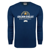 Navy Long Sleeve T Shirt-Golden Eagles Volleyball Stacked