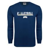 Navy Long Sleeve T Shirt-Volleyball w/ Ball