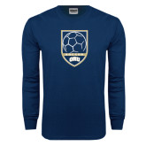 Navy Long Sleeve T Shirt-ORU Soccer Shield