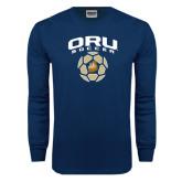 Navy Long Sleeve T Shirt-ORU Soccer Geometric Ball