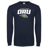 Navy Long Sleeve T Shirt-ORU Golden Eagles Mark