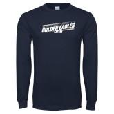 Navy Long Sleeve T Shirt-Stencil Design
