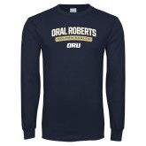 Navy Long Sleeve T Shirt-Stacked Arched Design