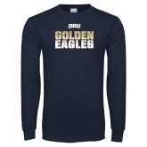 Navy Long Sleeve T Shirt-Golden Eagles Stencil