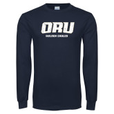 Navy Long Sleeve T Shirt-ORU Golden Eagles Distressed