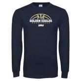 Navy Long Sleeve T Shirt-Basketball Arch Design