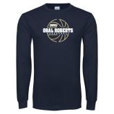 Navy Long Sleeve T Shirt-Basketball Outline Design