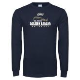 Navy Long Sleeve T Shirt-Baseball Stitch Design