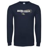 Navy Long Sleeve T Shirt-Volleyball Design