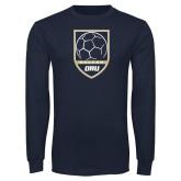 Navy Long Sleeve T Shirt-Soccer Shield Design
