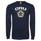 Navy Long Sleeve T Shirt-Soccer Design