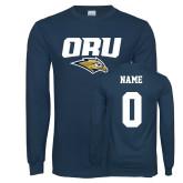 Navy Long Sleeve T Shirt-ORU w Mascot, Custom Tee w/ Name and #
