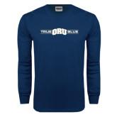 Navy Long Sleeve T Shirt-True ORU Blue