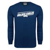Navy Long Sleeve T Shirt-Golden Eagles Slanted w/ Logo