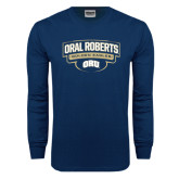 Navy Long Sleeve T Shirt-Oral Roberts Golden Eagles Arched Shield