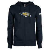 ENZA Ladies Navy Fleece Full Zip Hoodie-Golden Eagle Mascot