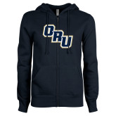 ENZA Ladies Navy Fleece Full Zip Hoodie-ORU Stacked