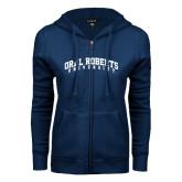 ENZA Ladies Navy Fleece Full Zip Hoodie-Arched Oral Roberts University