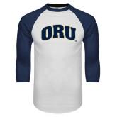 White/Navy Raglan Baseball T-Shirt-ORU