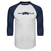White/Navy Raglan Baseball T-Shirt-True ORU Blue