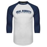 White/Navy Raglan Baseball T-Shirt-Arched Oral Roberts University
