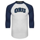 White/Navy Raglan Baseball T-Shirt-ORU Distressed