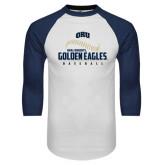 White/Navy Raglan Baseball T-Shirt-Golden Eagles Baseball Seams