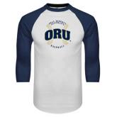 White/Navy Raglan Baseball T-Shirt-ORU Baseball Seams