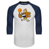 White/Navy Raglan Baseball T-Shirt-Basketball Eli