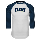White/Navy Raglan Baseball T Shirt-ORU