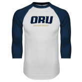 White/Navy Raglan Baseball T Shirt-ORU Golden Eagles