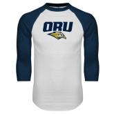 White/Navy Raglan Baseball T Shirt-ORU w Mascot