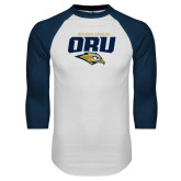 White/Navy Raglan Baseball T Shirt-ORU Golden Eagles Mark