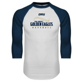 White/Navy Raglan Baseball T Shirt-Baseball Stitch Design