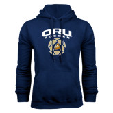 Navy Fleece Hoodie-ORU Soccer Geometric Ball
