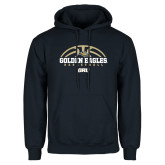 Navy Fleece Hoodie-Basketball Arch Design