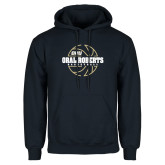 Navy Fleece Hoodie-Basketball Outline Design