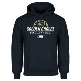 Navy Fleece Hoodie-Stacked Volleyball Design